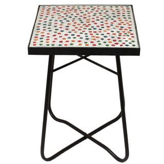Color Fusion Mosaic Square Patio Side Accent Table