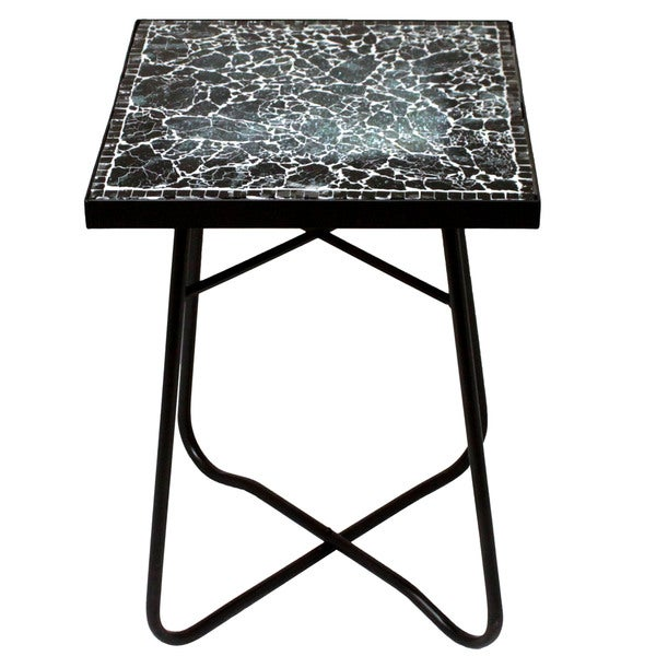 shop black mosaic square patio side accent table free shipping today overstock 11323624. Black Bedroom Furniture Sets. Home Design Ideas