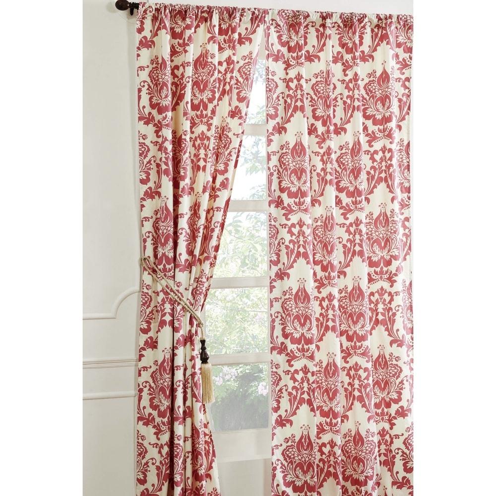 Shop Cottage Home Damask Coral Cotton 40 x 96 Single Curtain Panel - 40 x 96 - 11323631
