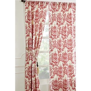 Damask Coral Curtain Panel