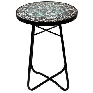 Black Mosaic Round Patio Side Accent Table