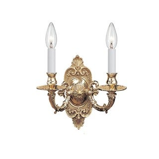 Crystorama Traditional 2-light Polished Brass Wall Sconce