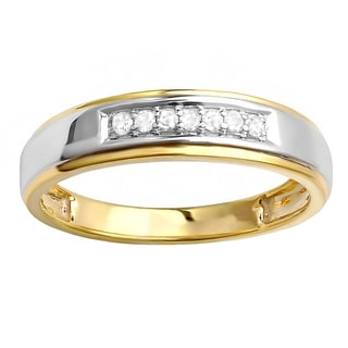 Elora 18k Yellow Gold 1/8ct TDW Plated Sterling Silver Diamond Men's Seven Stone Wedding Band