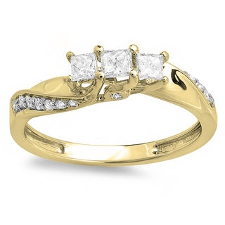 Elora 10k Yellow Gold 1/2ct TDW Princess and Round Diamond 3 Stone Swirl Engagement Bridal Ring