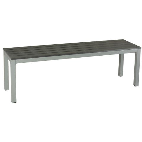 Knotts Large Silver/ Slate Grey Aluminum Outdoor Bench in Poly Wood by Havenside Home