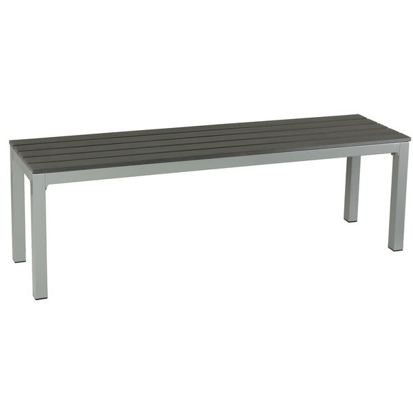 Knotts Large Silver/ Slate Grey Aluminum Outdoor Bench in Poly Wood by Havenside Home. Opens flyout.