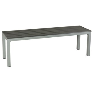 Havenside Home Knotts Large Silver/ Slate Grey Aluminum Outdoor Bench in Poly Wood