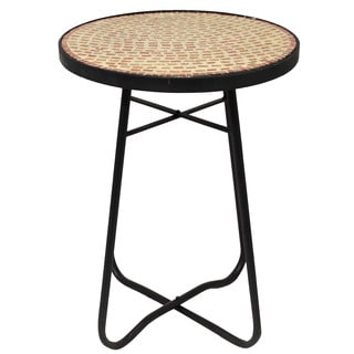 Brick Mosaic Round Side Accent Table