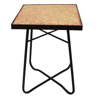Brick Mosaic Square Side Accent Table