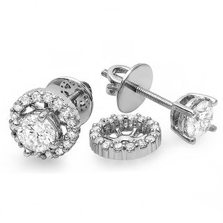14k White Gold 1/4ct TDW Round Diamond Removable Jackets For Stud Earrings (I-J, I2-I3)