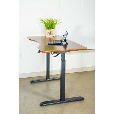 ErgoMax Office Black Electric Height Adjustable Desk Frame w/Single Motor, Tabletop Not Included, 49 Inch Max Height