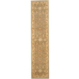 Herat Oriental Indo Hand-tufted Mahal Light Green/ Beige Wool Runner (2'3 x 9'10)