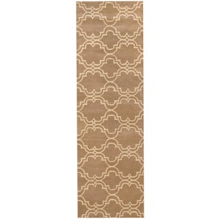 Herat Oriental Indo Hand-tufted Tibetan Light Brown/ Ivory Wool Runner (2'7 x 10')