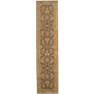Herat Oriental Indo Hand-tufted Mahal Brown/ Gold Wool Runner (2'4 x 10')