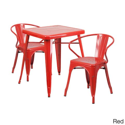Offex Metal Indoor-Outdoor Table Set with 2 Arm Chairs