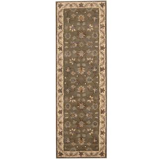 Herat Oriental Indo Hand-tufted Mahal Gray/ Ivory Wool Runner (2'6 x 8')