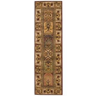 Herat Oriental Indo Hand-tufted Tabriz Burgundy/ Gold Wool Runner (2'6 x 8')