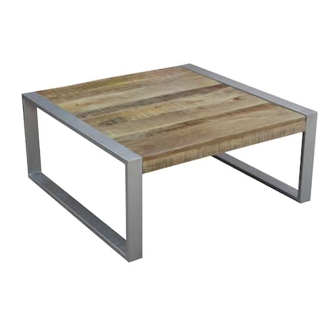 Handmade Wood Coffee Table with Silver legs (India)
