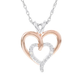H Star Sterling Silver Two-Tone Double Heart Diamond Accent Pendant (H-I, I1-I2)
