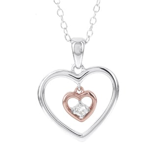 H Star Sterling Silver Two-tone Diamond Accent Double Heart Pendant