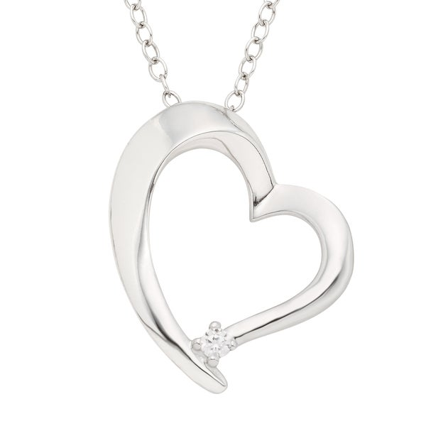 Shop H Star Sterling Silver Diamond Accent Heart Pendant