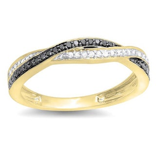 10k Gold 1/4ct TDW Black and White Diamond Band (I-J, I2-I3)