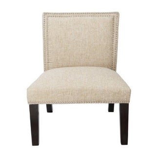 Burnett Slipper Chair in Taupe with Silver Nailheads