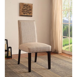 Burnett Taupe Parsons Chair with Silver Nailheads
