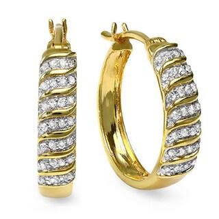 Sterling Silver 1/5ct TDW Two Tone Diamond Hoop Earrings (I-J, I2-I3)