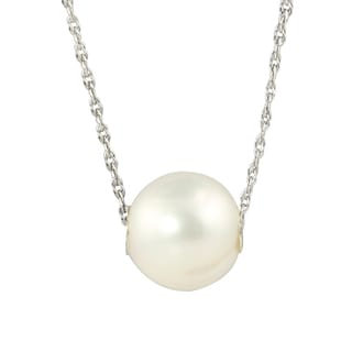 10mm Semi Round Freshwater Cultured White Pearl Necklace with 18-inch Curb Chain