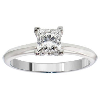 14k or 18k White Gold or Platinum 3/5ct TDW GIA Certified Diamond Solitaire Engagement Ring