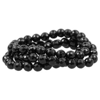 8-8.5mm Round Faceted Black Agate 3-row Stretch Bracelet Set