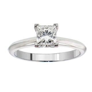 14k or 18k White Gold or Platinum 3/4ct TDW GIA Certified Diamond Solitaire Engagement Ring