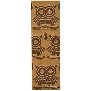Herat Oriental Indo Hand-tufted Tibetan Gold/ Brown Wool Runner (2'6 x 8')