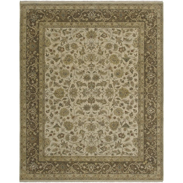 Bethany Beige Traditional Hand-knotted Rug - 10' x 14'