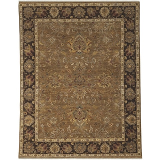 Bethany Brown Traditional Border Hand-knotted Rug (10' x 14')