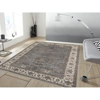 Bethany Grey Traditional Border Hand-knotted Rug - 8' x 10'