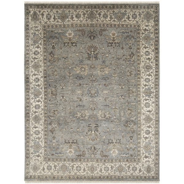 Bethany Grey Traditional Border Hand-knotted Rug (9' x 12') - 9' x 12'