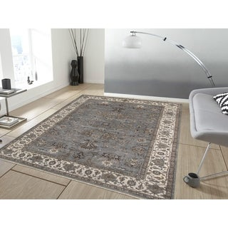 Bethany Grey Traditional Border Hand-knotted Rug (9' x 12')