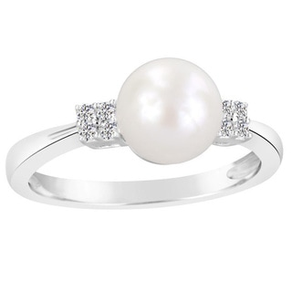 Sterling Silver White Freshwater Cultured Round Pearl and Lab Created White Sapphire Ring