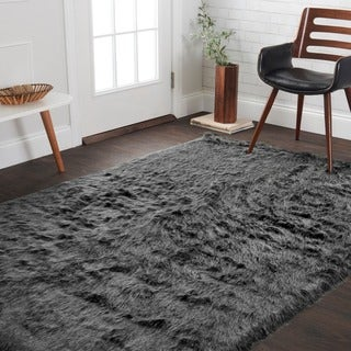 Silver Orchid Martin Faux Fur Black/ Charcoal Shag Area Rug - 5' x 7'6""