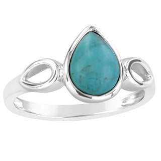 Sterling Silver Stabilized Turquoise Pear Shaped Fashion Ring - Blue