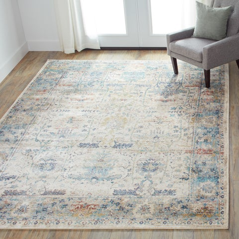 Traditional Sand/ Light Blue Floral Distressed Rug - 9'6 x 13'