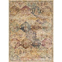 Traditional Ivory/ Multi Damask Distressed Rug - 6'7 x 9'2