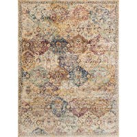 Traditional Ivory/ Multi Damask Distressed Rug - 12' x 15'
