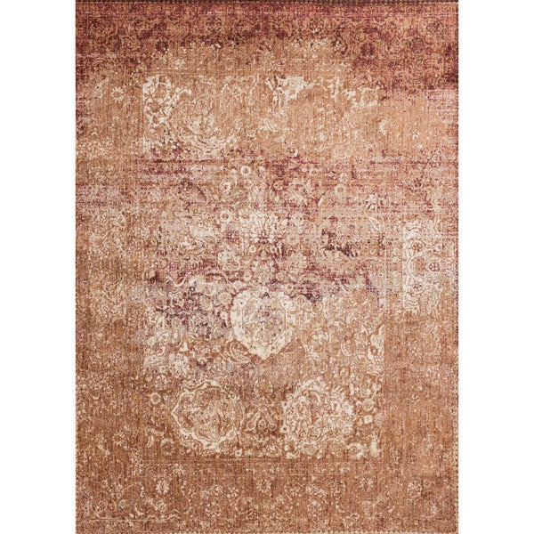 Traditional Rust Floral Distressed Rug - 9'6 x 13'