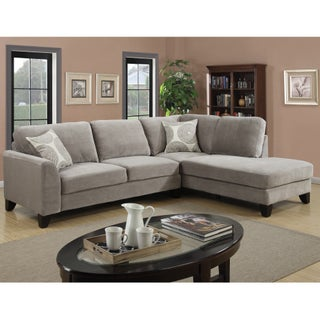 Porter Reese Dove Grey Sectional Sofa with Optional Ottoman (2 options available)