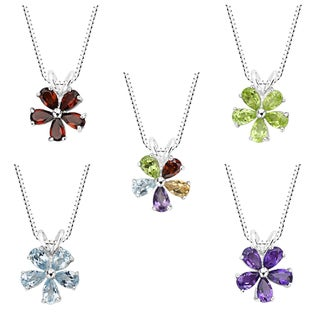 Sterling Silver Amethyst, Blue Topaz, Garnet, Peridot or Multi-gemstone Flower Pendant Necklace