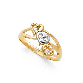 14k Yellow Gold Cubic Zirconia 3-Heart Seminario-style Ring