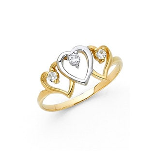 14k Yellow Gold Cubic Zirconia Intertwined Heart Ring